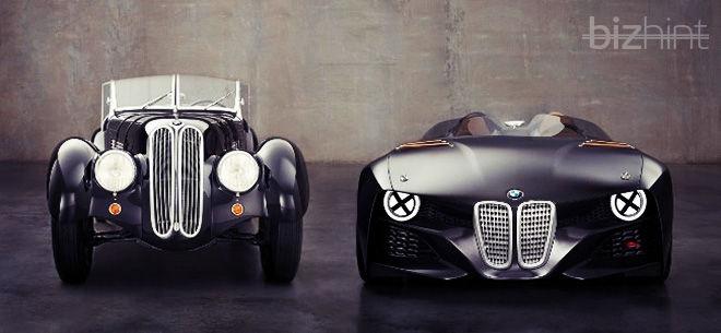 Ретро и современный автомобили BMW