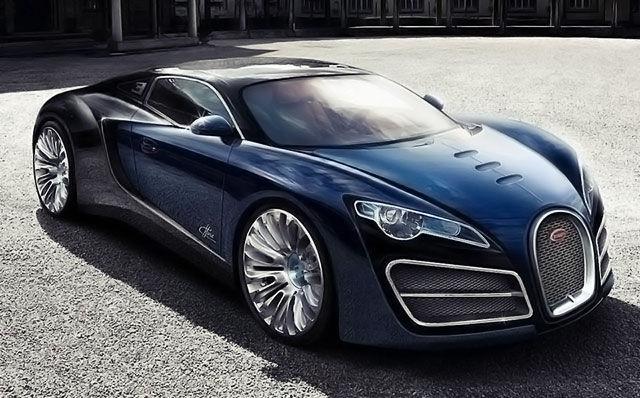 Черный Bugatti Veyron 16.4 Supersport