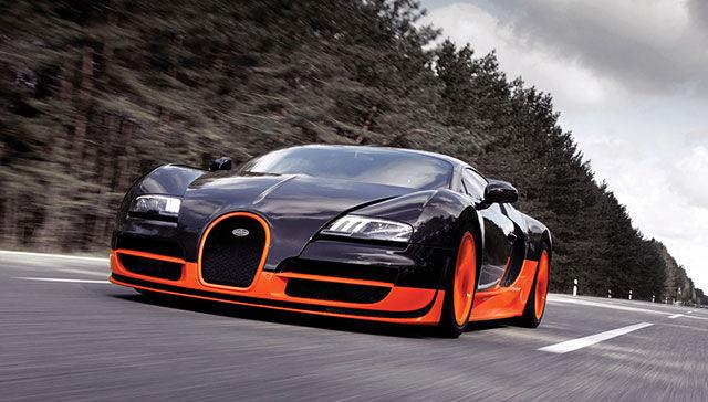 Черный с оранжевым Bugatti Veyron 16.4 Supersport