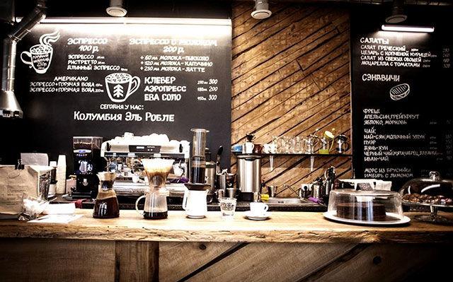 Интерьер барной стойки в кофейне