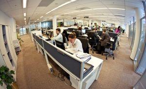 Сотрудники за работой в офисе открытого типа