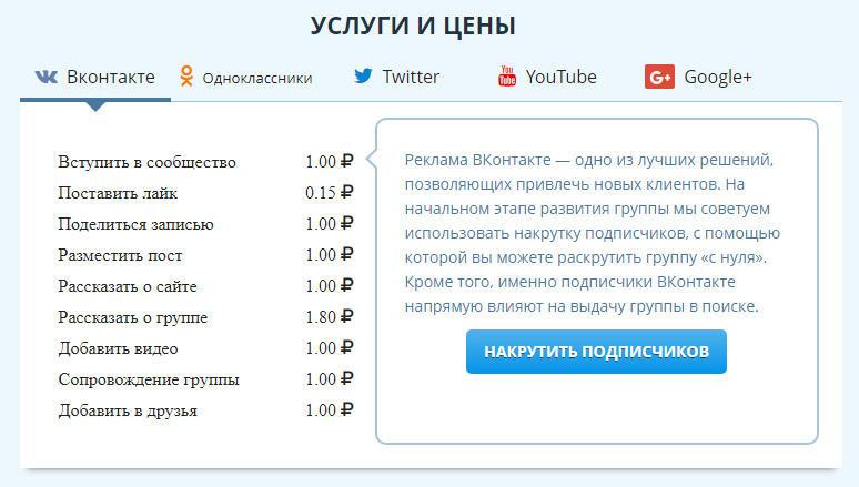 Vktarget цены на накрутку Вконтакте