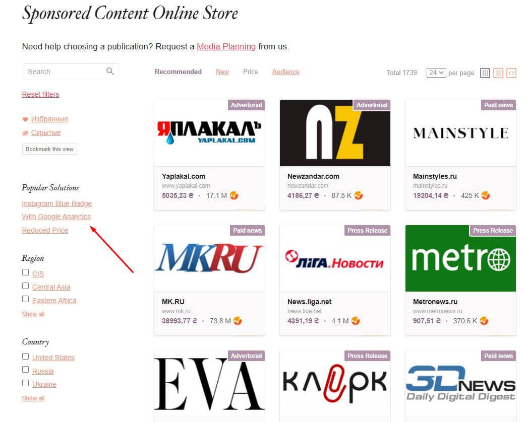 Сайты с Гугл Аналитикс в каталоге PRNEWS